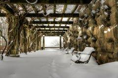 Biltmores Laube im Schnee lizenzfreies stockbild