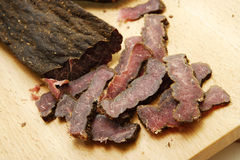Biltong coupé en tranches Images stock