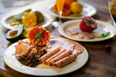 Biltong, Zimny mięso i grapefruitowy półmisek, obrazy stock