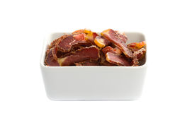 Biltongue-südafrikanischer getrockneter Fleisch-Imbiß Lizenzfreies Stockbild
