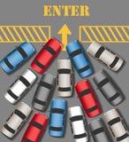 Biltrafik Enter sammanfogar den upptagna platsen stock illustrationer