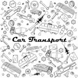 Biltransportlinje illustration för konstdesignvektor royaltyfri illustrationer