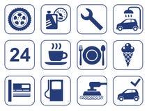 Biltvätt auto reparation, gummihjulservice, kafé, symboler, monokrom, lägenhet Arkivbilder