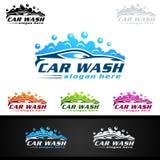 Biltvättlogo, rengörande bil-, tvagning- och servicevektor Logo Design royaltyfri illustrationer