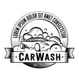 Biltvättlogo Vektor och illustration stock illustrationer