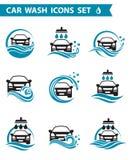 Biltvättsymbolsuppsättning stock illustrationer
