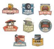Bilunderhåll och servicesymboler och symboler Royaltyfri Bild