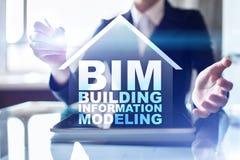 BIM - De bouwinformatie Modellering industrieel en technologieconcept stock foto's