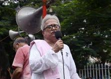 Biman Bose bij protestverzameling Stock Foto