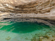 Bimmah sinkhole, geological depression in the limestone in Oman Royalty Free Stock Photo