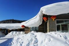 Bimodal lasu gospodarstwo rolne w Heilongjiang prowinci - Śnieżna wioska Obrazy Royalty Free
