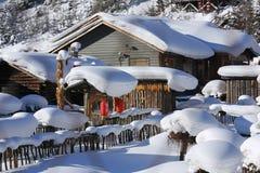 Bimodal lasu gospodarstwo rolne w Heilongjiang prowinci - Śnieżna wioska fotografia stock