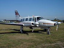 Bimotor aircraft. Stand on airport Royalty Free Stock Images