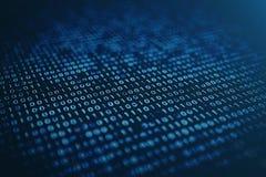binär Code der Illustration 3D auf blauem Hintergrund Bytes des binär Code Gebrauch für Hintergrund Digital-binärer Hintergrund Stock Abbildung