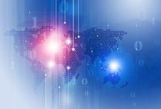 Binär Code-Karten-Blau-Hintergrund Stockfotos