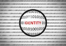 Binär Code mit IDENTITÄT und Vergrößerungslinse stock abbildung