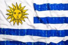 Binär Code mit Uruguay-Flagge, Datenschutzkonzept Stockbild