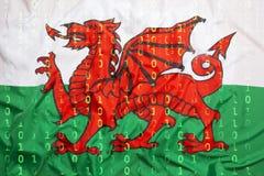 Binär Code mit Wales-Flagge, Datenschutzkonzept Lizenzfreies Stockfoto