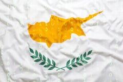 Binär Code mit Zypern-Flagge, Datenschutzkonzept Stockbilder