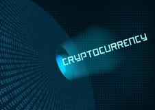 Binär Code und Aufschrift cryptocurrency Lizenzfreie Stockfotos