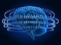 binär hjärna stock illustrationer