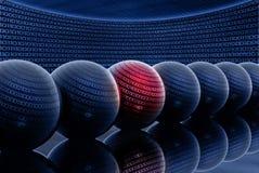 binär kod för bollar 3d stock illustrationer