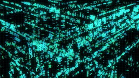 Binär kod i matriskub stock video