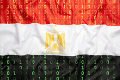 Binär kod med den Egypten flaggan, begrepp för dataskydd Royaltyfri Fotografi