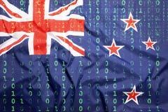 Binär kod med den nyazeeländska flaggan, begrepp för dataskydd Arkivfoton