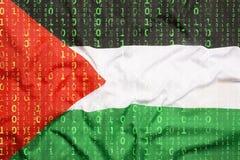 Binär kod med den Palestina flaggan, begrepp för dataskydd Arkivfoton