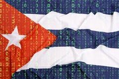 Binär kod med Kubaflaggan, begrepp för dataskydd Fotografering för Bildbyråer