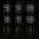 Binär kod på en svart bakgrund algoritm kryptering, kodande matris vektor illustrationer