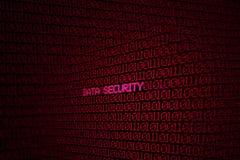 Binär kod på skärmen med orddatasäkerhet Arkivfoto