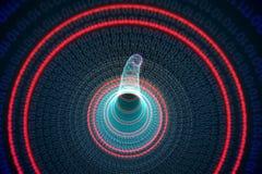 Binär spiral med rött glöd Arkivfoton