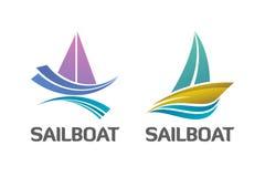 Binär uppsättning av den nautiska segelbåten Logo Symbol Arkivbild