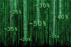 Binära matrisförsäljningar Arkivfoto