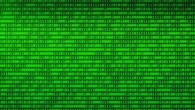Binäre Digital, die durch glühende Zweiheit umzieht, ummauert Hintergrund der gelegentlichen Zahlen stock video footage