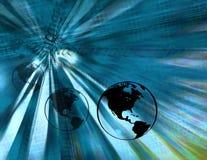 Binäre Erdekugeln (blau) Stockfotografie