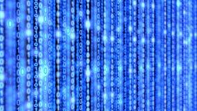 Binärer blaue datastream Matrixhintergrund Stockfoto