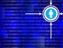 Binärer Code auf blauem Hintergrund Stockbild