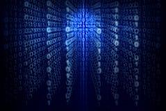 Binärer Computercode - blauer abstrakter Hintergrund Lizenzfreie Stockfotos