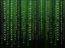Binärer Computercode, der auf den schwarz-grünen Hintergrund fließt lizenzfreie abbildung
