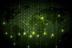 Binärer grüne globale Hintergrund der abstrakten Technologie Lizenzfreie Stockfotografie