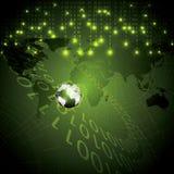 Binärer grüne globale Hintergrund der abstrakten Technologie Lizenzfreies Stockfoto