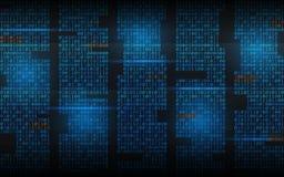 Binärer Hintergrund Abstrakter strömender Code Matrixstellen auf dunklem Hintergrund Blaue Spalten mit Lichtern Zerhacktes Konzep lizenzfreie abbildung