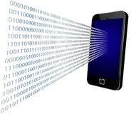 Binäres Kommen durch mobilen Bildschirm Lizenzfreies Stockfoto