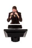 Binóculos da mulher de negócios Foto de Stock Royalty Free