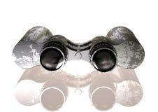 Binóculos de prata e pretos em um branco imagem de stock