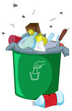 Bin. Illustration of a full rubbish bin Royalty Free Stock Photography