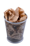 Bin. Waste bin with crumpled brown paper Royalty Free Stock Images